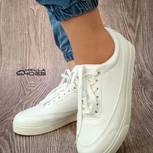کفش تخت ونس چرم بندی تمام سفید-تصویر 2