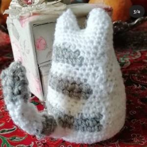 عروسک گربه سفید طوسی-تصویر 3