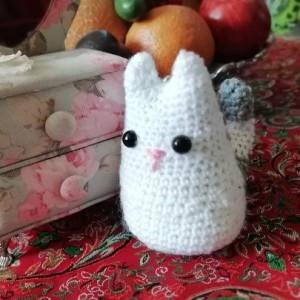 عروسک گربه سفید طوسی