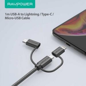 کابل ۱ متری USB به Lightning، micro USB و Type-C روپاور مدل RP-CB021-تصویر 2