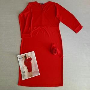 پیراهن یقه ضربدری آستین کیمونو بلند با کمربند4195