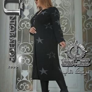 مانتو بافت طرح ستاره شکلا-تصویر 3