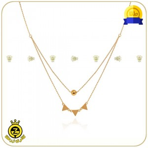 گردنبند طلا طرح هندسی دولایه مثلث و گوی