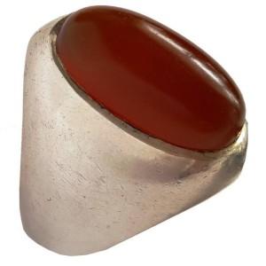 انگشتر نقره جواهرسیتی عقیق یمنی کهنه بادومی مدل a326jw