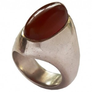 انگشتر نقره جواهرسیتی عقیق یمنی کهنه بادومی مدل a326jw-تصویر 3
