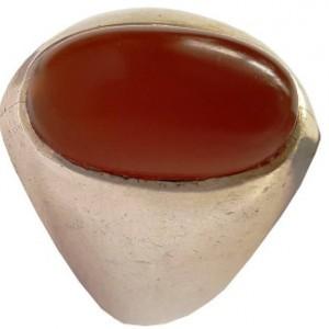 انگشتر نقره جواهرسیتی عقیق یمنی کهنه بادومی مدل a326jw-تصویر 2