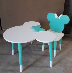 میز و صندلی میکی ماوس فیروزه ای