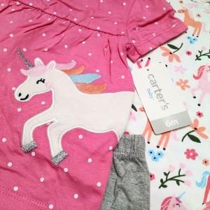ست 3 تکه لباس نوزادی دخترانه کارترز طرح اسب تک شاخ-تصویر 2