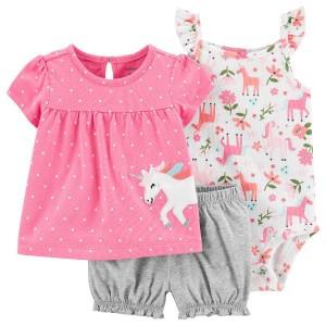 ست 3 تکه لباس نوزادی دخترانه کارترز طرح اسب تک شاخ