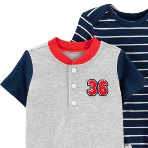 ست 3 تکه نوزادی پسرانه کارترز طرح Baseball-تصویر 4