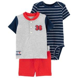 ست 3 تکه نوزادی پسرانه کارترز طرح Baseball