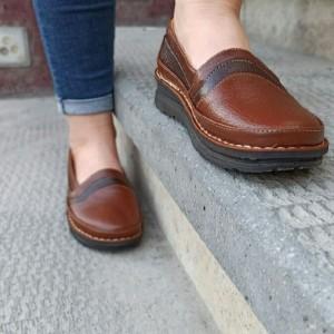 کفش تخت مدل آنیل قهوه ای