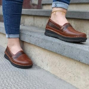کفش تخت مدل آنیل قهوه ای-تصویر 2