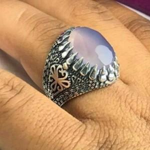 انگشتر عقیق یمنی کبود اصلی الماس تراش-تصویر 2