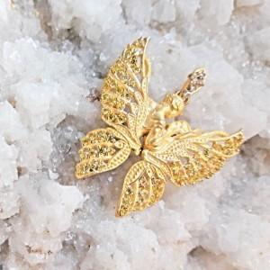 گردنبند طلا الیزابت طرح پروانه کد 701