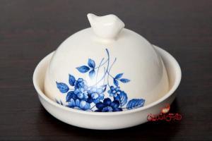 ظرف کره و پنیر آبی گل سرمه ای-تصویر 2