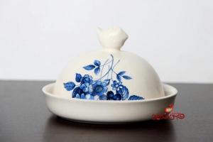 ظرف کره و پنیر آبی گل سرمه ای-تصویر 3