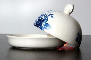 ظرف کره و پنیر آبی گل سرمه ای-تصویر 4