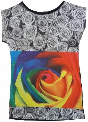 تیشرت تمام چاپ طرح گل رز