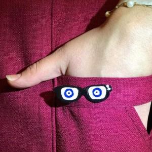 گل سینه نقره عینک مدل D301