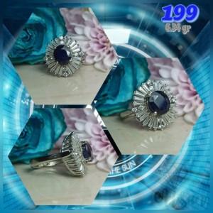 انگشتر نقره زنانه یاقوت کبود اعلا کد 198-تصویر 4