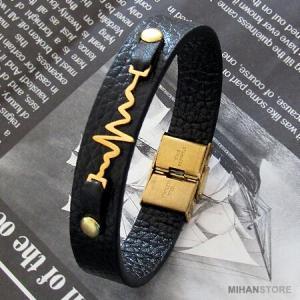 دستبند چرم طرح ضربان قلب-تصویر 3