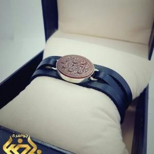 دستبند چرم اصل با قاب نقره
