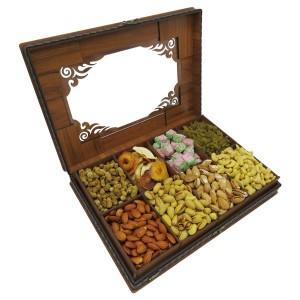 جعبه آجیل و خشکبار جعبه پذیرایی جعبه چوبی مدل چرم کد LB045-تصویر 3