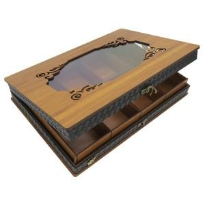 جعبه آجیل و خشکبار جعبه پذیرایی جعبه چوبی مدل چرم کد LB045-تصویر 5