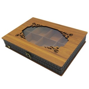 جعبه آجیل و خشکبار جعبه پذیرایی جعبه چوبی مدل چرم کد LB045-تصویر 4