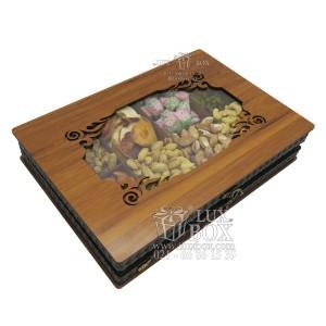 جعبه آجیل و خشکبار جعبه پذیرایی جعبه چوبی مدل چرم کد LB045