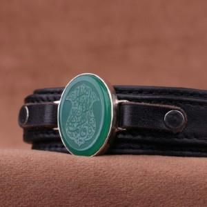 دستبند عقیق سبز خطی