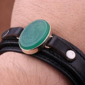 دستبند عقیق سبز خطی-تصویر 2