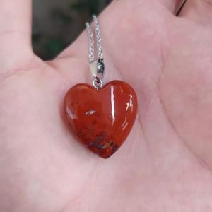 گردنبند سنگ جاسپر طرح قلب-تصویر 2