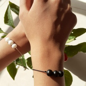دستبند ست سفید مشکی-تصویر 2