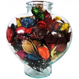 گل خشک کادویی طرح عشق مدل ظرف شیشه ای