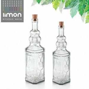 بطری آب 700 میلی لیتری درب چوب پنبه ای لیمون