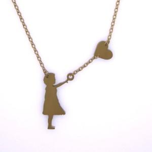 گردنبند نقره طرح دخترک وقلب-تصویر 3