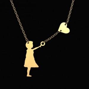 گردنبند نقره طرح دخترک وقلب-تصویر 2
