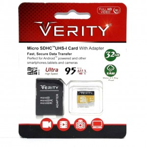 کارت حافظه microSDHC وریتی کلاس 10 استاندارد UHS-I U1 سرعت 95MBps ظرفیت 32 گیگابایت به همراه آداپتور SD