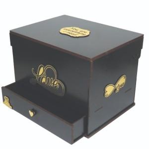 جعبه کادو ولنتاین هدیه باکس گل چوبی لوکس باکس مدل عشق کد LB260-تصویر 3