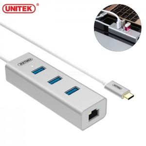 هاب 3 پورت USB 3.0  همراه پورت شبکه یونیتک مدل Y-3083B