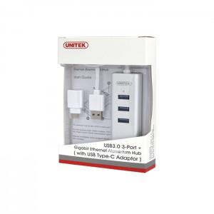 هاب 3 پورت USB 3.0  همراه پورت شبکه یونیتک مدل Y-3083B-تصویر 2