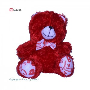 عروسک پوم پوم مدل خرس قرمز ارتفاع 27 سانتی متر