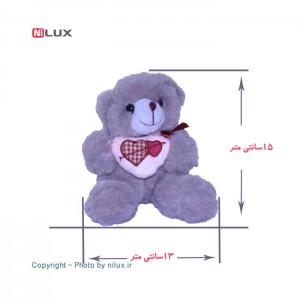 عروسک خرس طوسی ارتفاع 15 سانتی متر-تصویر 2