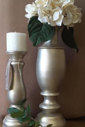 ست دوتایی گلدان و شمعدان چوبی