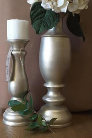 ست دوتایی گلدان و شمعدان چوبی-تصویر 3