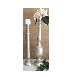 ست دوتایی گلدان و شمعدان چوبی-تصویر 2