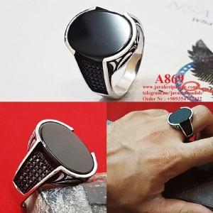 انگشتر اسپرت خاص مردانه با نگین عقیق مشکی-تصویر 2