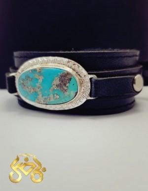 دستبند نقره با نگین فیروزه نیشابوری اصلی